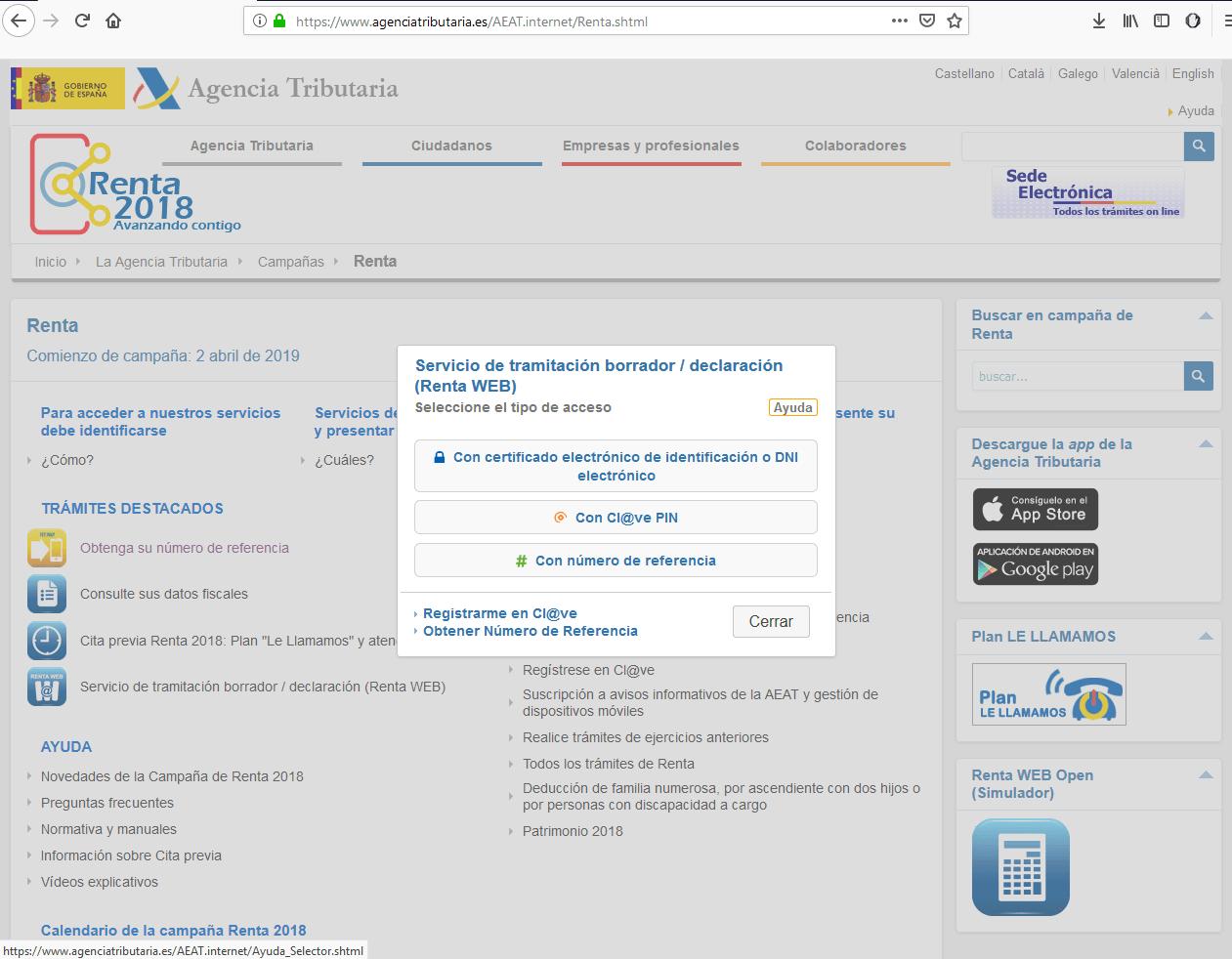 Cuadro de diálogo para acceso al programa