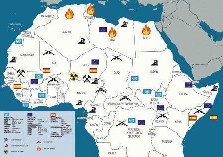 Rechazar el enfoque militarista del hecho migratorio: Mapa de África excluyendo la zona sur con iconos de yacimientos y explotación de recursos, conflictos armados y terrorismo, así como misiones militares de España, UE y ONU.