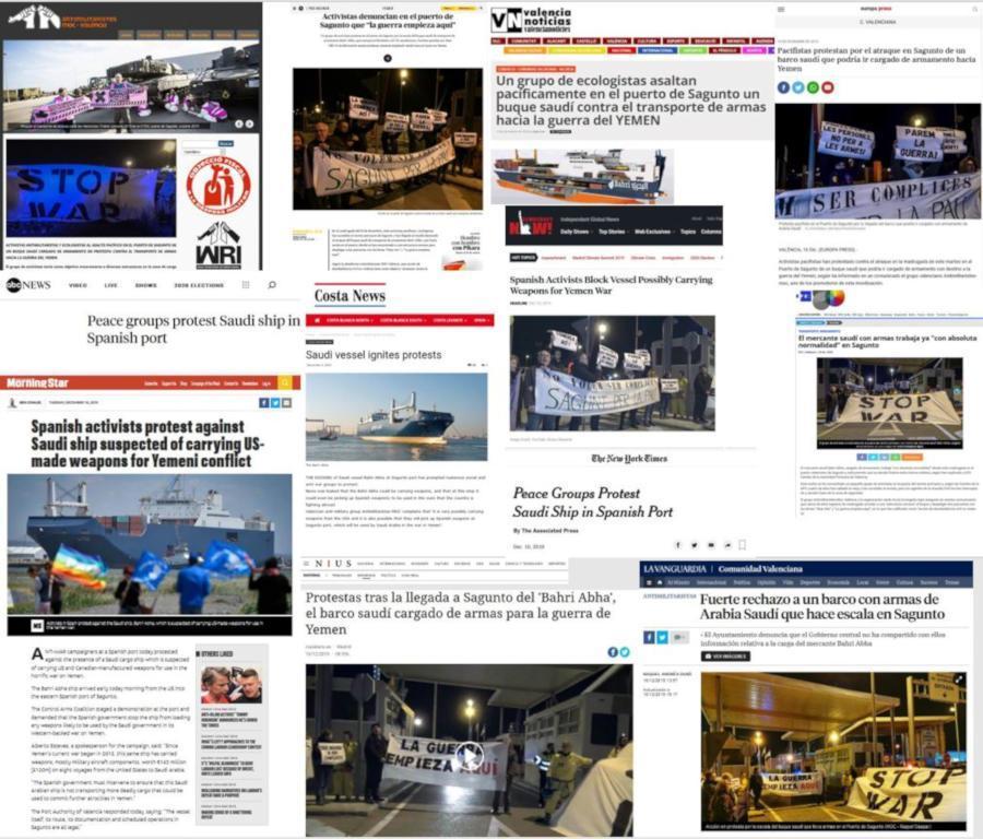 Una acción desobediente fija el foco de los medios de comunicación en el tráfico de armas desde España a Yemen El texto que articuló la protesta fue respaldado por cerca de 70 organizaciones
